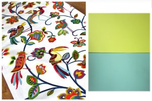 Yup. Birds. Lots of 'em. And I love it. Both paint chips are Olympic paints - Forsythia Blossom and Royal Palm.