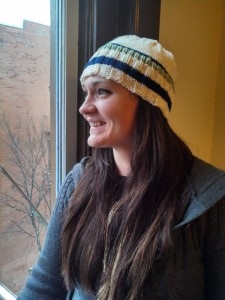 Carrie Mari's Strib Hat in cream, sage and navy blue. Isn't she cute???