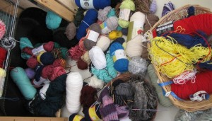 Sport weight, cotton, inexpensive acrylic, fingering and Noro. Some I bought but most has been given to me.