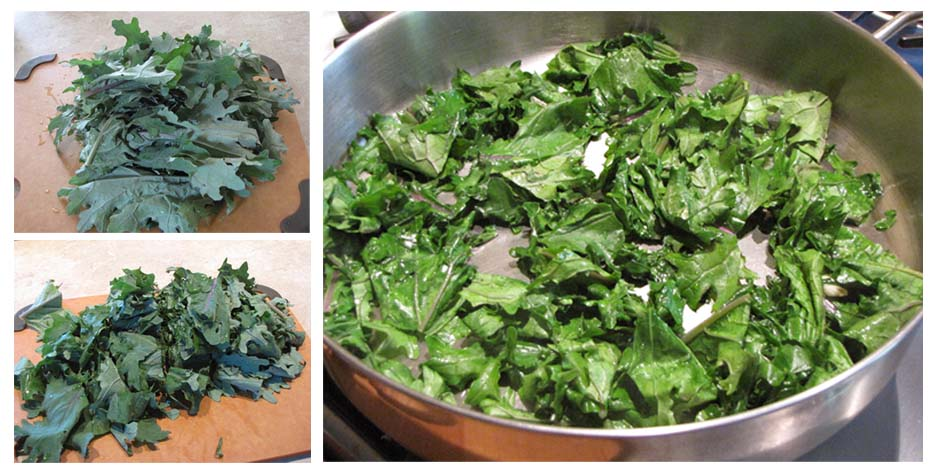 Kale - trimmed and cooked with garlic