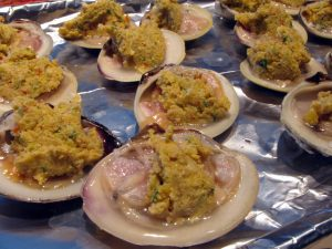 Next top the clams with some of the topping. You'll have to eyeball this part.