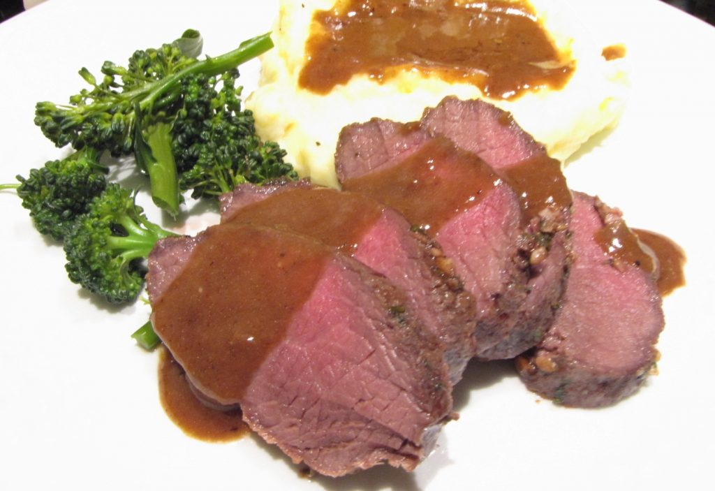 Herb Crusted Venison Backstrap with Pan Gravy