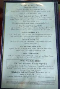 Brunch Menu - The Dock at Crayton Cove in Naples Florida