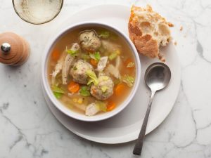 Turkey Vegetable Soup with Stuffing Dumplings