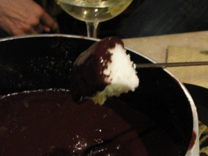 Dark chocolate fondue - need I say more?