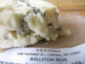 Cow's milk blue cheese. It's called 'Ballston Blue' because the cow's milk comes from Ballston Spa, NY.