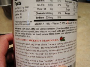 Meeshs Marinara label