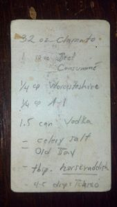 Bloody Mary Mix recipe written on a napkin