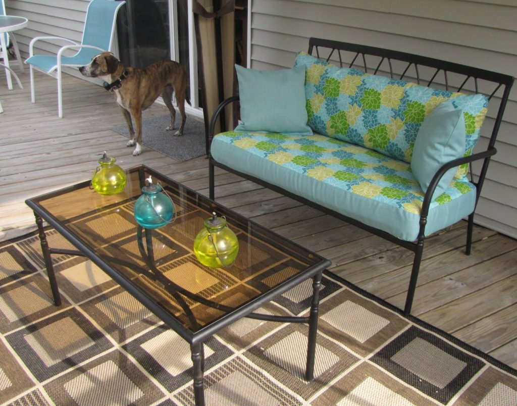 These lime green and blue oil lamps were the inspiration for the fabric color.