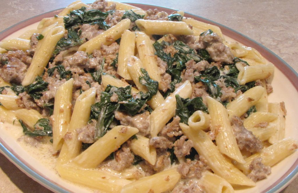 Sausage and Kale penne alfredo