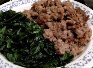 Sausage and kale - cooked and set aside.