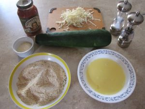 """I like to get all my ingredients together before I begin cooking. I used a pretty large zucchini - maybe 18"""" long and about 3""""-4"""" in diameter."""