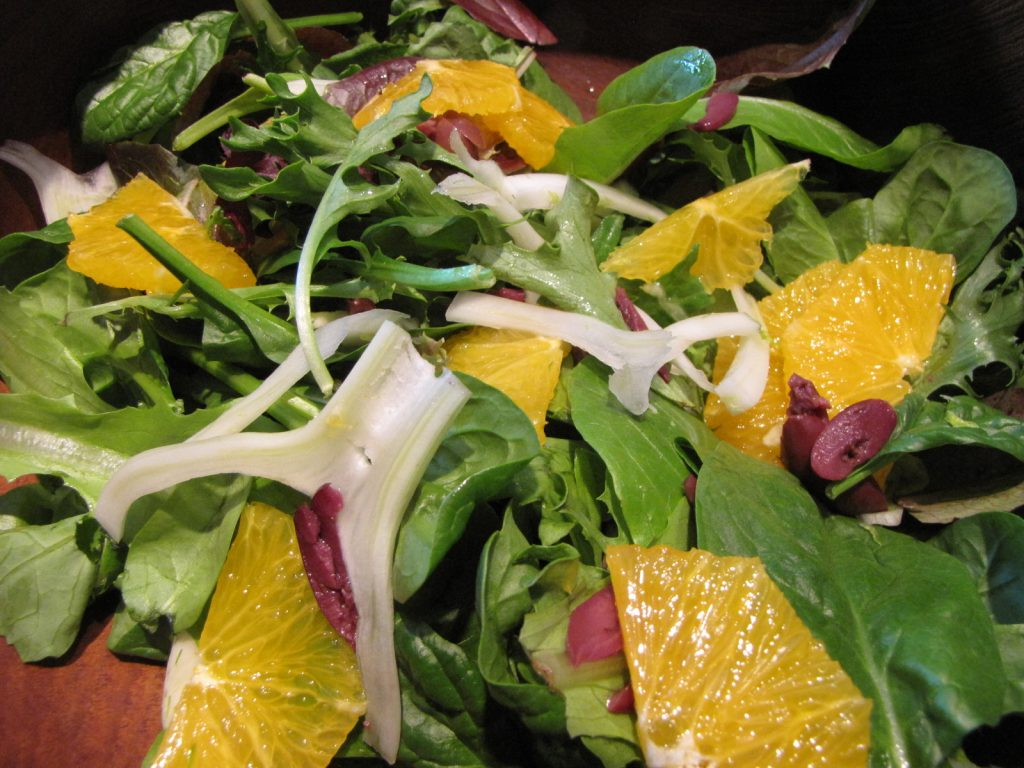 Salad made with spring greens fennel and orange