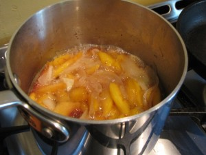 Sweet Peach and Bourbon - cooking
