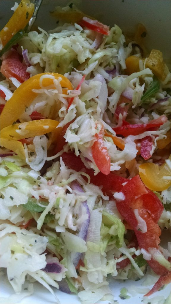 Fresh cabbage slaw for tacos.