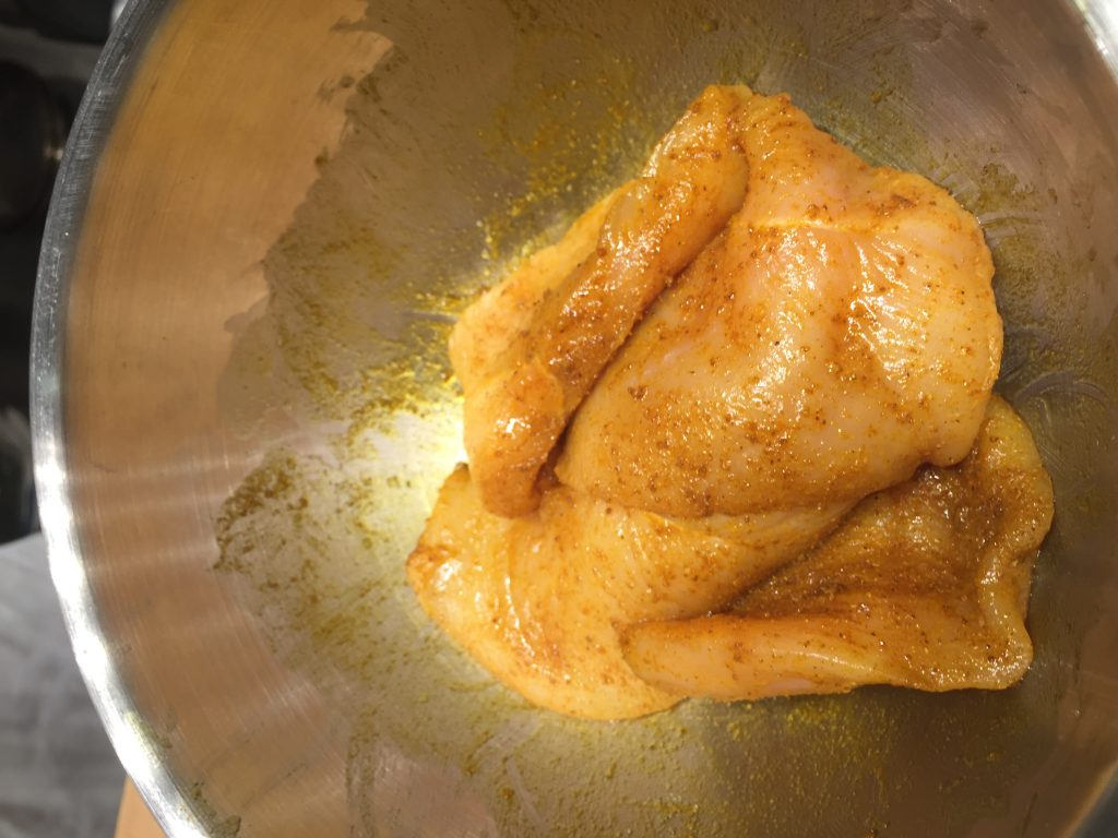 Chicken seasoned with curry