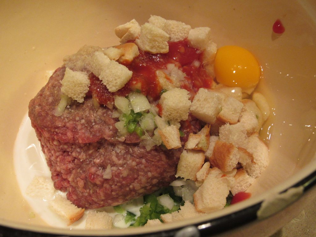 Ingredients for meatloaf for two