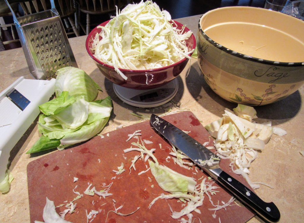 Lacto fermented Sauerkraut ingredients and tools